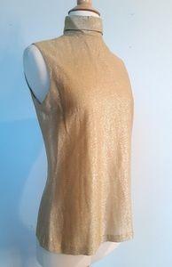 Vintage Gold 70s Lurex mock neck sparkle disco top